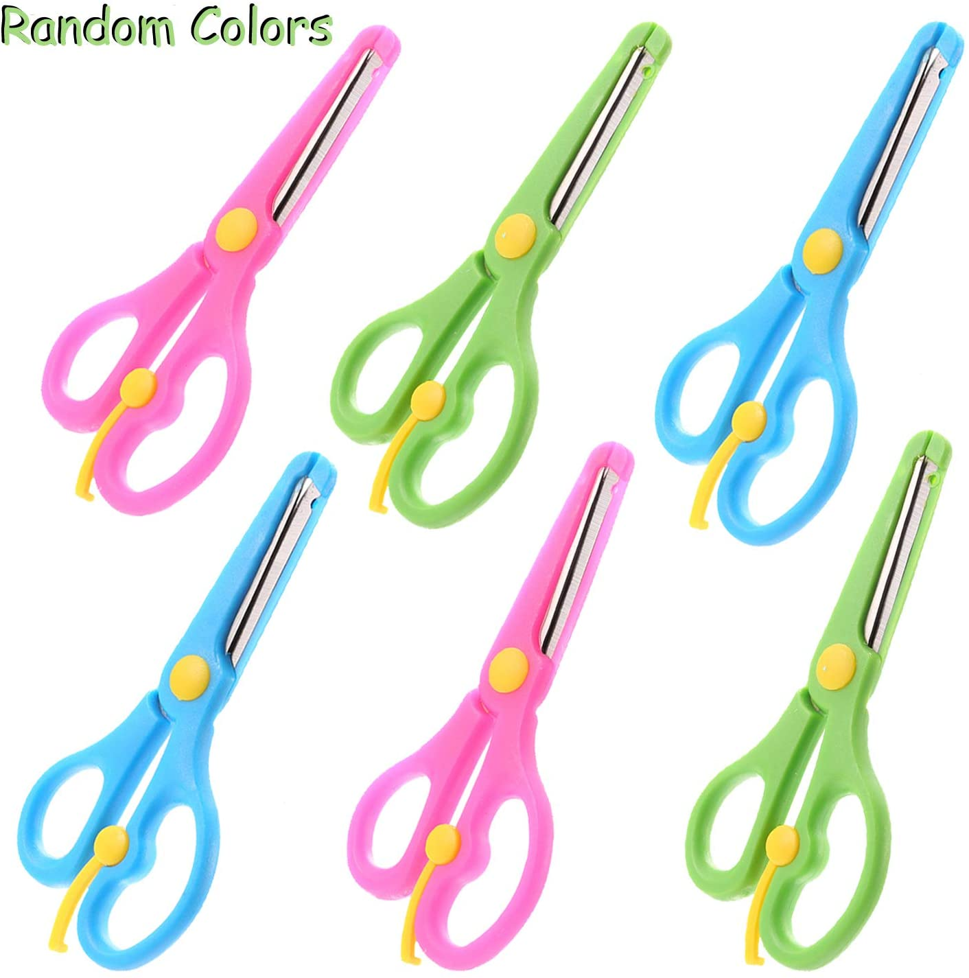 OOTSR 6pcs Child Safety Scissors, Plastic Handle Pre-School Training Scissors with Spring for Scrapbooking / Art Craft/ Teaching (Random Colors)