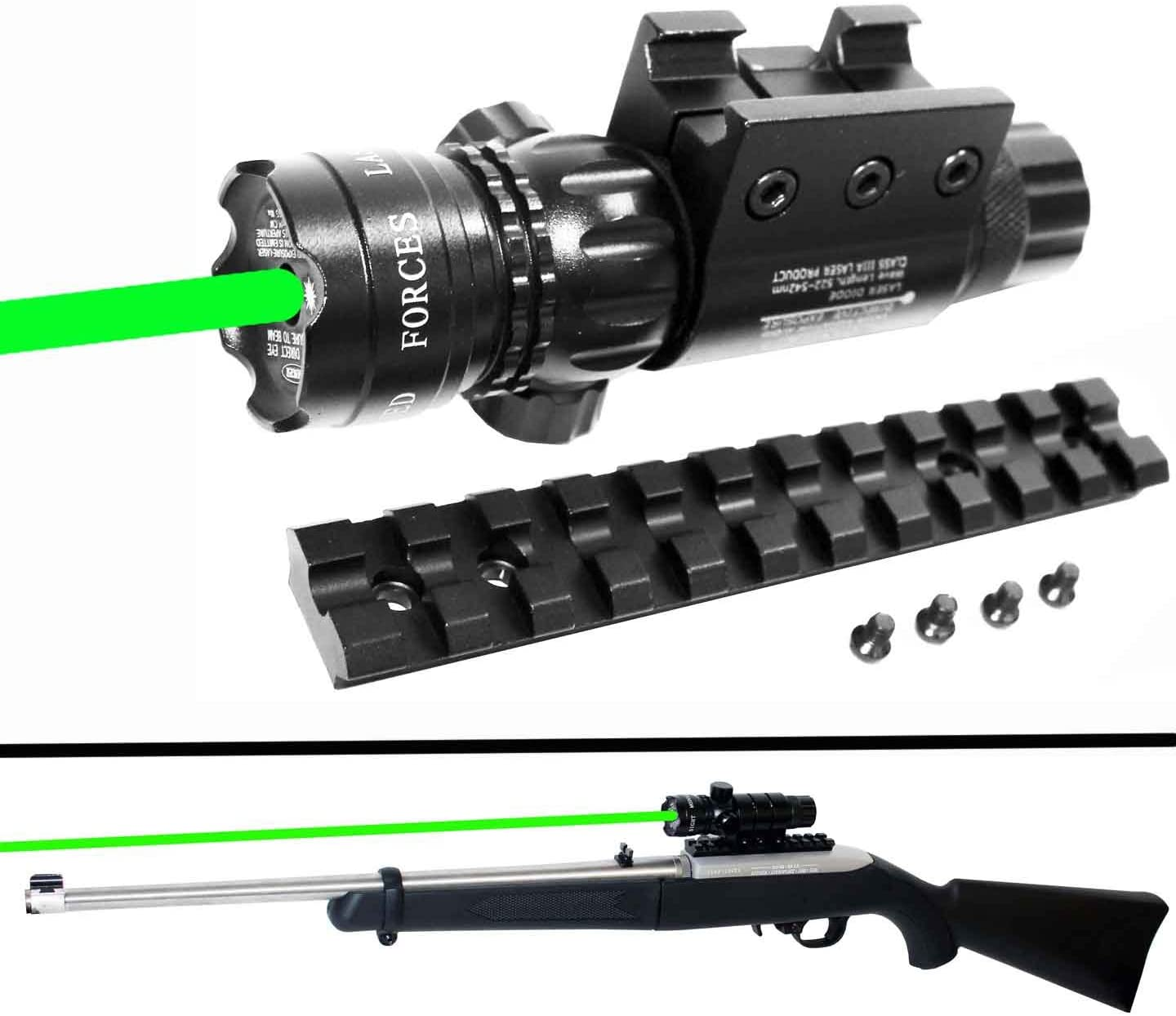 Trinity Weaver Mounted Green Sight with Rail Mount for Ruger 1022, Class IIIA 635nM Less Than 5mW Single Rail Mount.