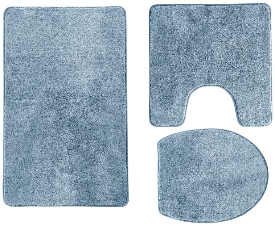 Tititex Home Bathroom Rug Sets 3pc Adhesive Non-Slip Bottom Extra Soft and Absorbent Bath Rugs Floor Mats for Bath Blue