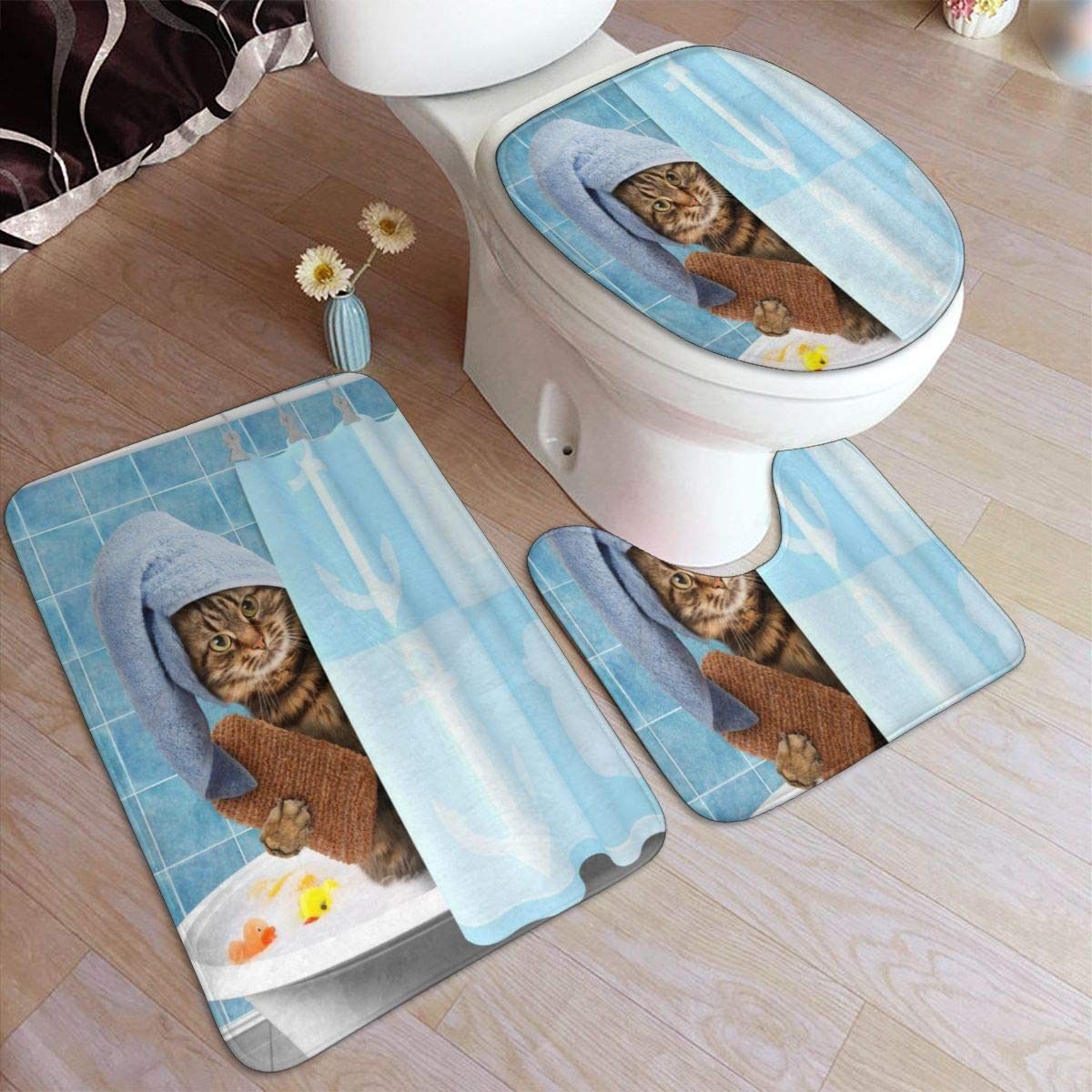 Bath Mat Sets, Cat Bathing,Contour Rug U-Shaped Toilet Lid Cover,Non Slip,Machine Washable,3-Piece Rug Set Easier to Dry for Bathroom