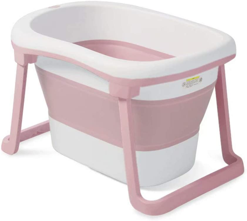 Children's Bath Tub Swimming Bucket Can Sit and Fold Baby Tub with Long Lock Temperature,(Color:Pink,Size:79X59X51Cm)