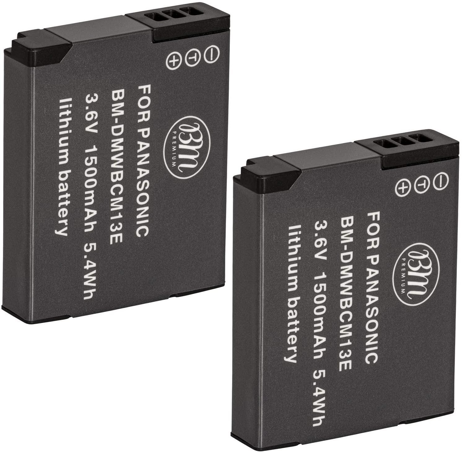 BM Premium 2 Pack of DMW-BCM13E Batteries for Panasonic Lumix DC-TS7, DMC-FT5A, LZ40, TS5, TS6, TZ37, TZ40, TZ41, TZ55, TZ60, DMC-ZS27, DMC-ZS30, DMC-ZS35, DMC-ZS40, DMC-ZS45, DMC-ZS50 Digital Cameras