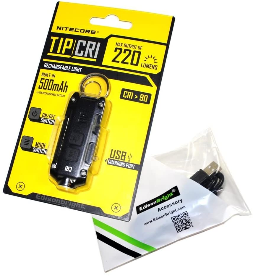 Nitecore TIP CRI 220 lumen USB rechargeable keychain light Black (Color Rendering Index CRI 90) with EdisonBright brand USB charging cable