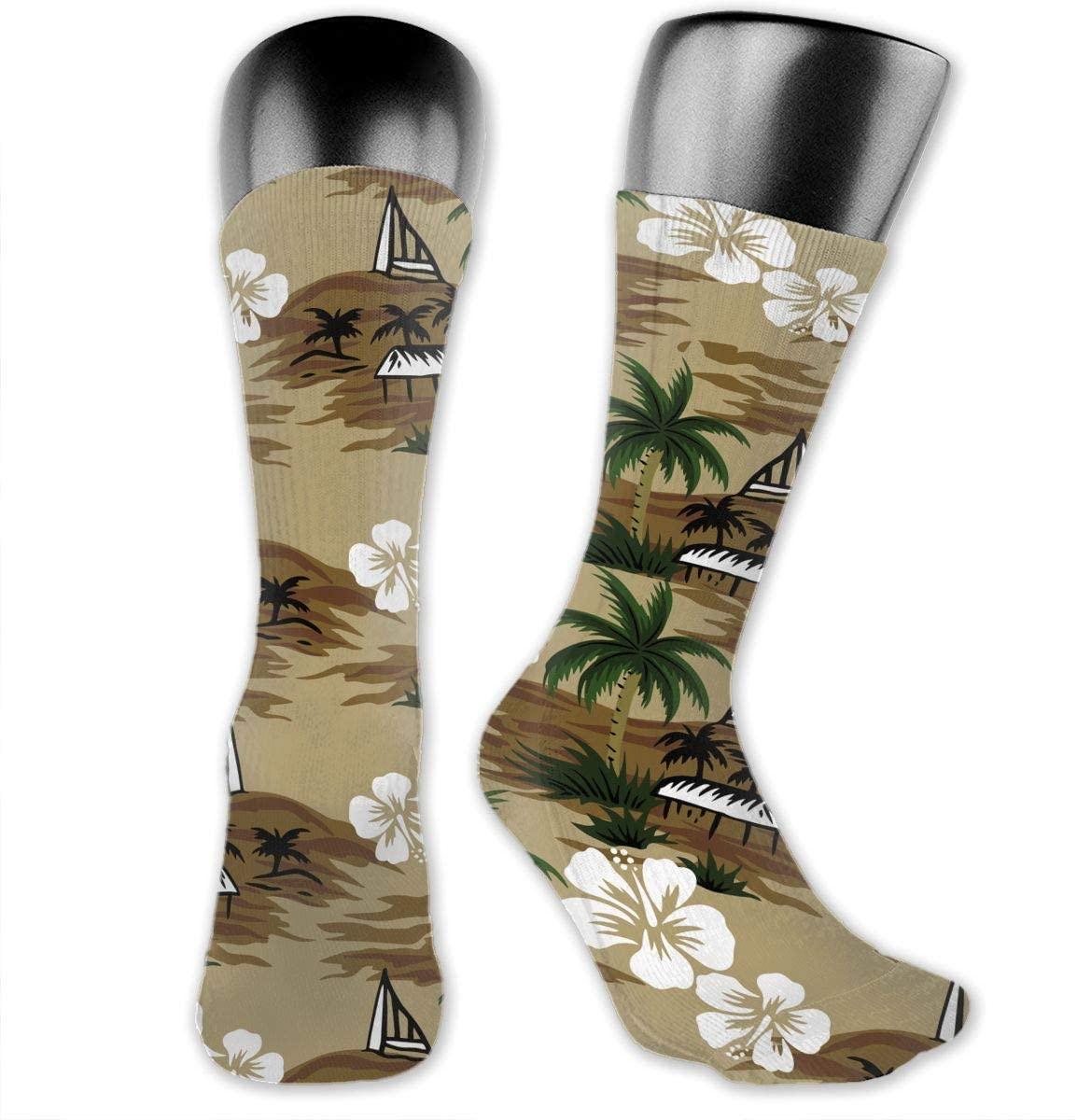 Palm Tree with Ship Unisex Outdoor Long Socks Sport Athletic Crew Socks Stockings