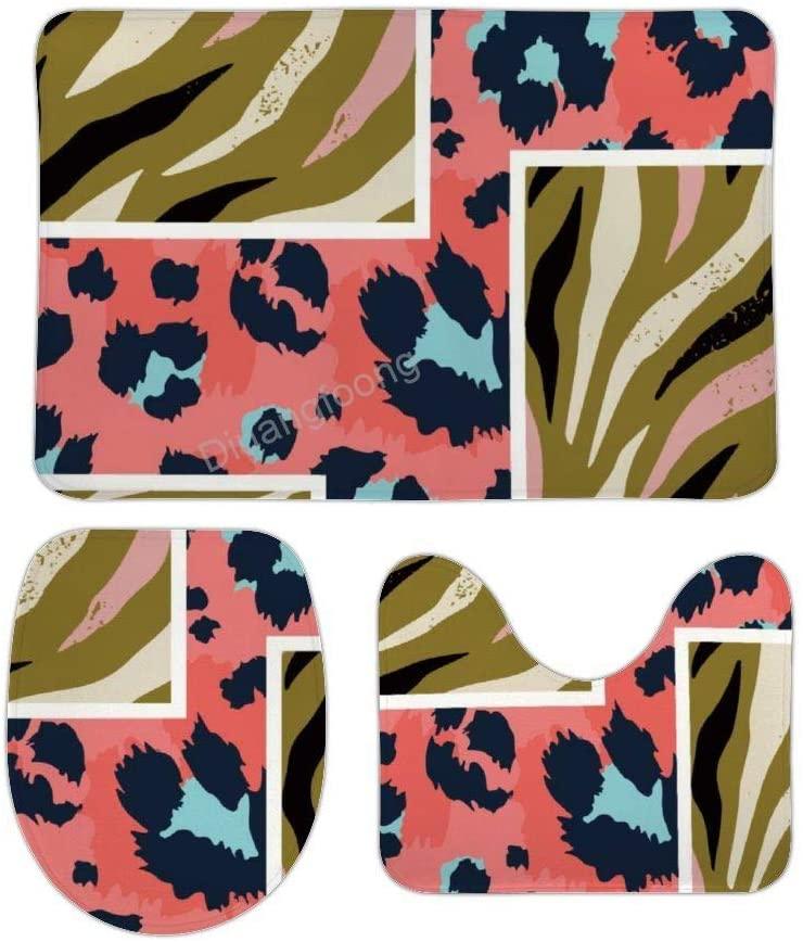 Bathroom Bath Mat 3 Piece Set Leopard Stitching Non-Slip Pedestal Rug + Lid Toilet Cover + Bath Mat Set