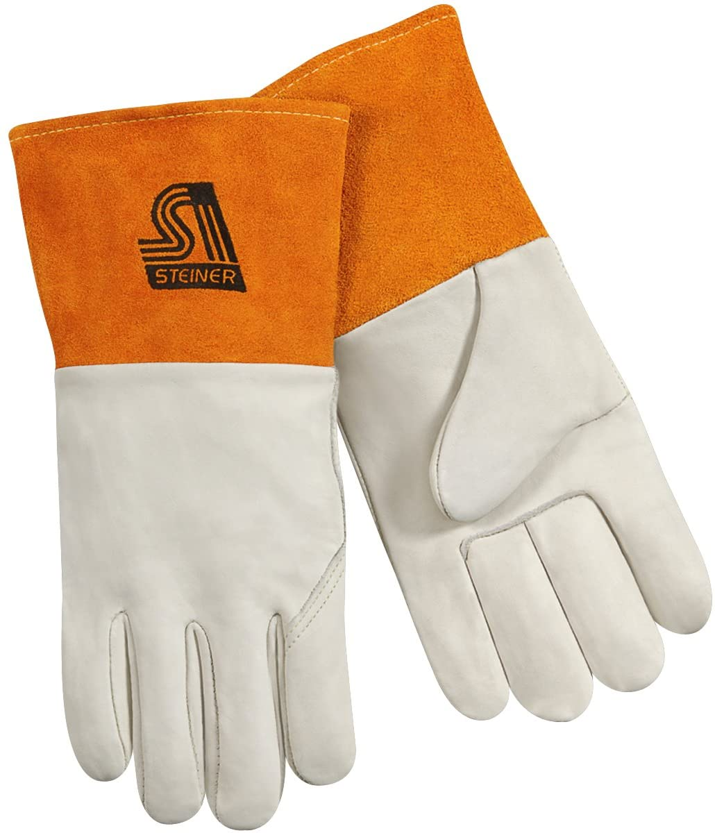 Steiner 0207-M MIG Gloves, Tan Grain Cowhide Unlined 4-Inch Rust Cuff, Medium