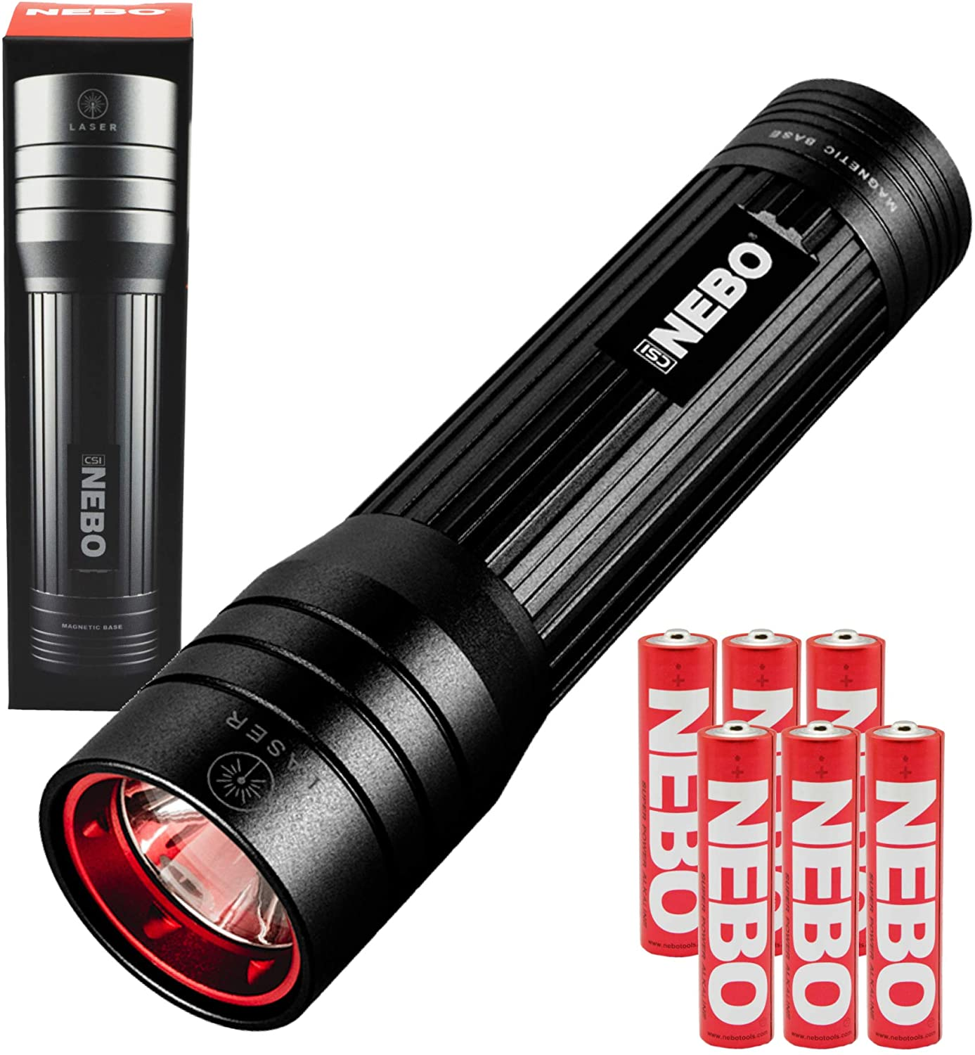 Nebo CSI Flashlight 250 Lumen LED Light with Magnetic Base and Red Light Bundle includes 3 Extra AAA Batteries (Black)