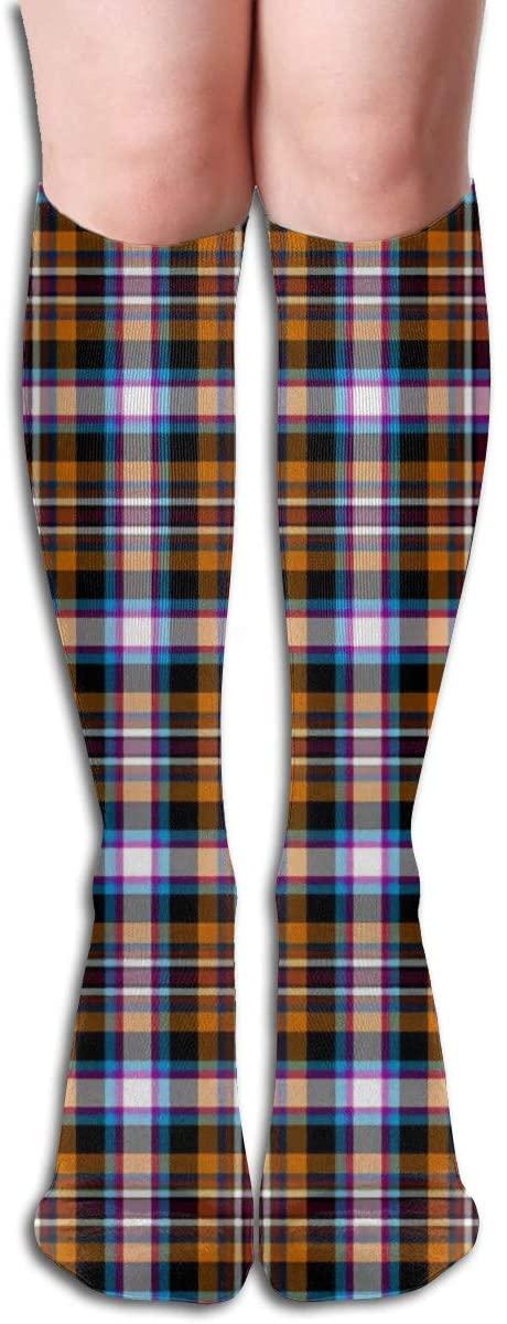 Checkered,Design Elastic Blend Long Socks Compression Knee High Socks (50cm) for Sports