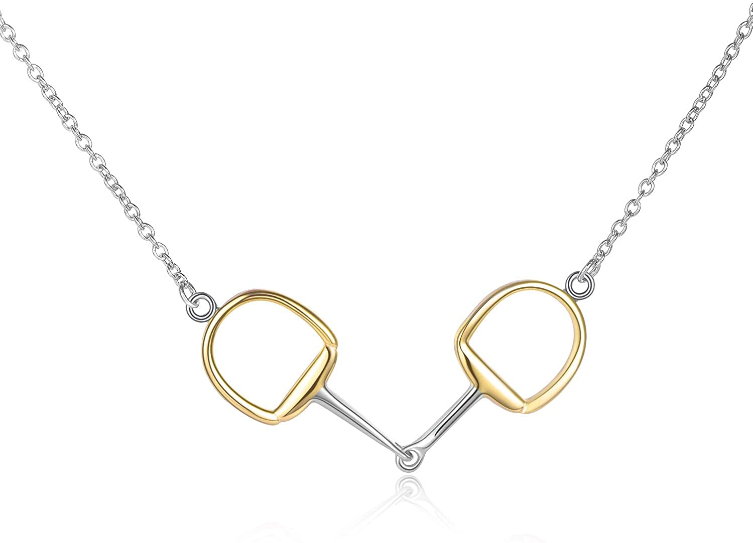 Horse Gift Jewelry 925 Sterling Silver Horse Snaffle Pendant Necklace Horse Gift for Women Girls
