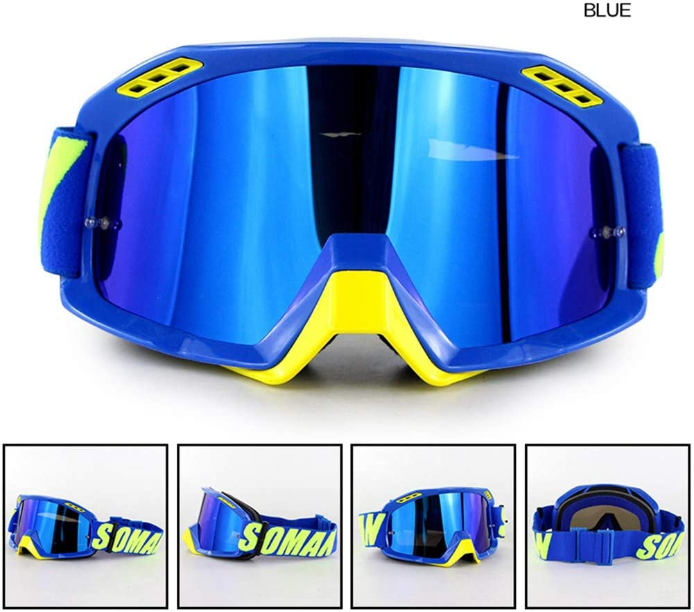 BEESCLOVER Motorcycle Hel-met Outdoor Riding Ski Goggles SM15 Cross-Country Goggles Blue for Auto Accessory