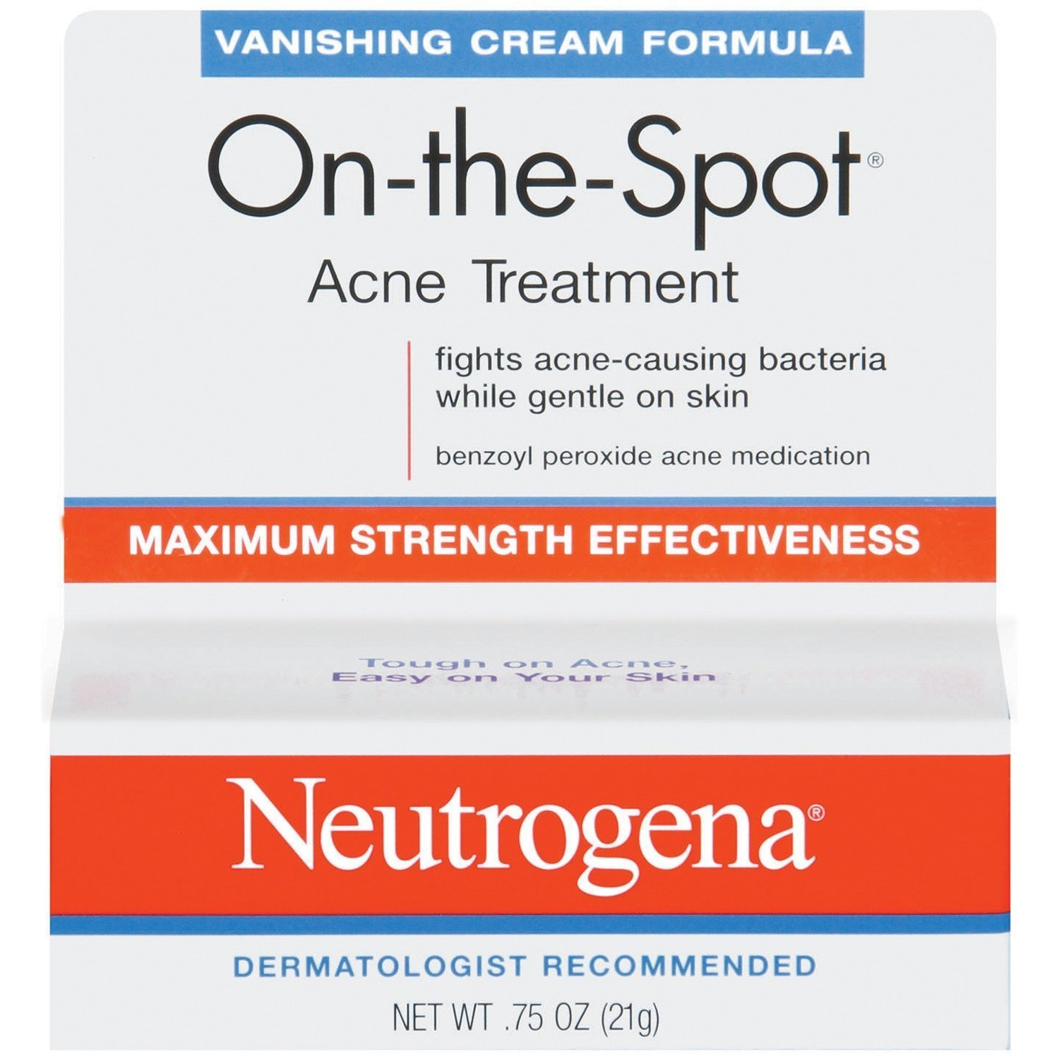 Neutrogena On-The-Spot Acne Spot Treatment with 2.5% Benzoyl Peroxide Acne Treatment Medicine to Treat Face Acne, Gentle Benzoyl Peroxide Pimple Gel for Acne Prone Skin.75 oz (Pack of 2)