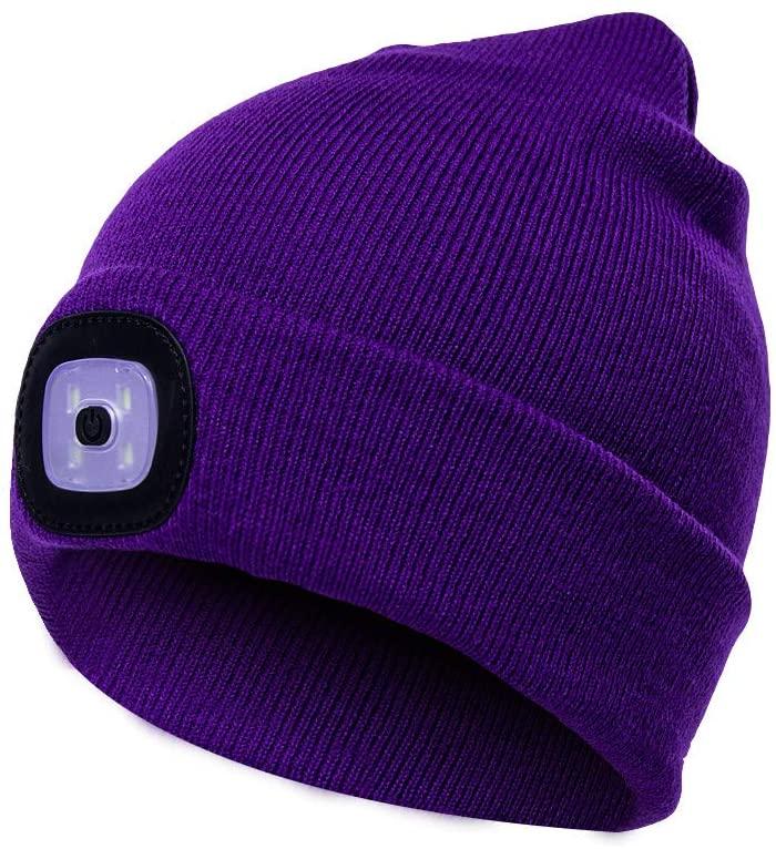 Rechargeable LED Beanie Cap, Mofek Hands Free LED Flashlight Lighted Headlamp Hat, Warmer Knit Cap Hat (Purple)