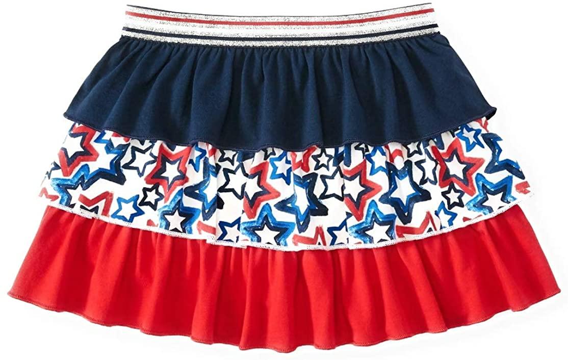 Celebrate Toddler Girls Patriotic Red White Blue Silver Ruffled Star Skort Skirt