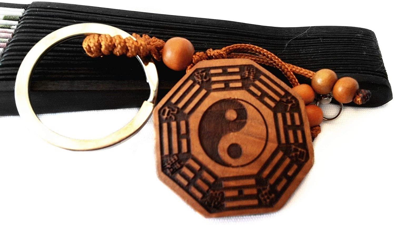 Feng Shui Peach Wood Bagua Pakua Amulet Key Chain Charm Or Handbag Hanging