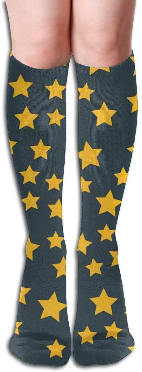 Shiny Star Pointed Pentagonal Gold,Design Elastic Blend Long Socks Compression Knee High Socks (50cm) for Sports