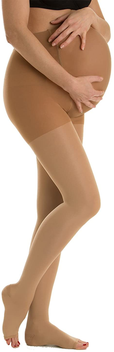 Relaxsan M2190A Soft fibre open-toe medical compression maternity tights - Class 2 (20-30 mmHg), 100% Made in Italy