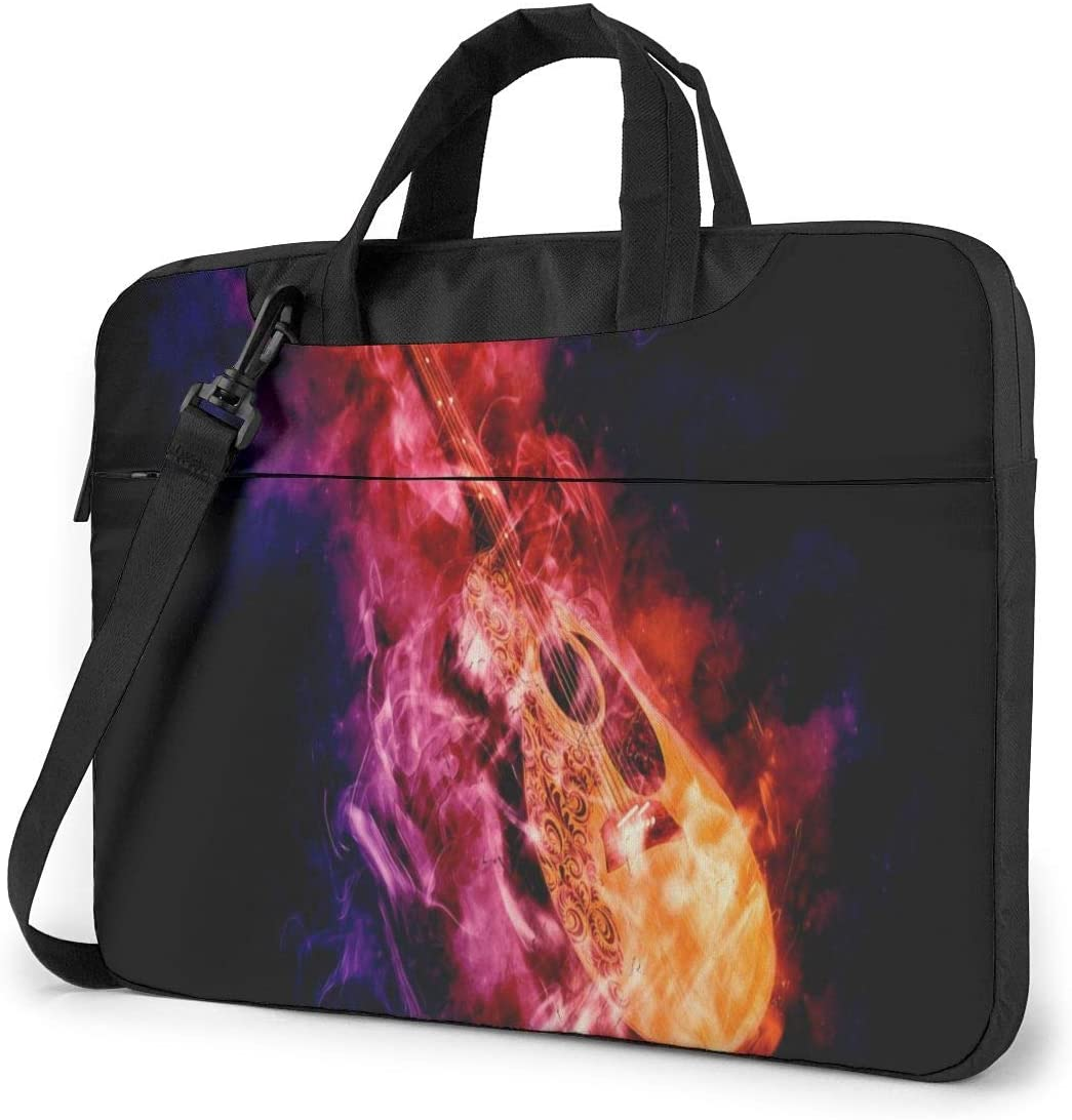 Acoustic Classical Guitar in Smoke Fire Black Laptop Case 15.6 Inch Computer Carrying Protective Case with Strap Bag