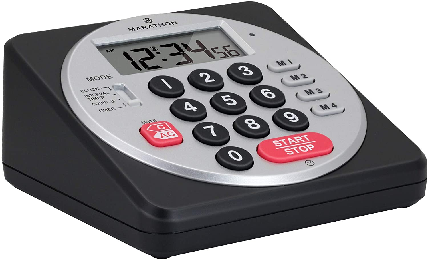 Marathon Commercial Grade 100-Hour Keypad Digital Timer with Loud Alarm, Volume Control, Flashing Visual Alarm, Countdown/up, Clock Feature and Batteries Included (Direct Entry Table Timer Black)