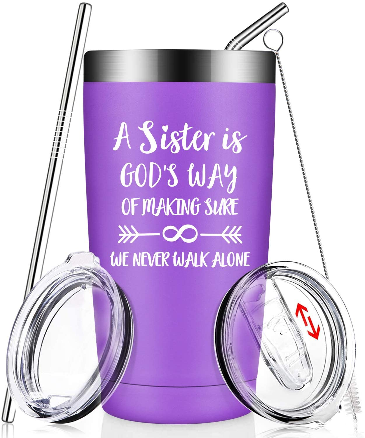 Sister Gifts from Sister, Brother - Funny Graduation Birthday Christmas Gifts Ideas for Soul Unbiological Little Big Sister, Sisters in Law, Women, Her - Vacuum Insulated Wine Tumbler with Straw