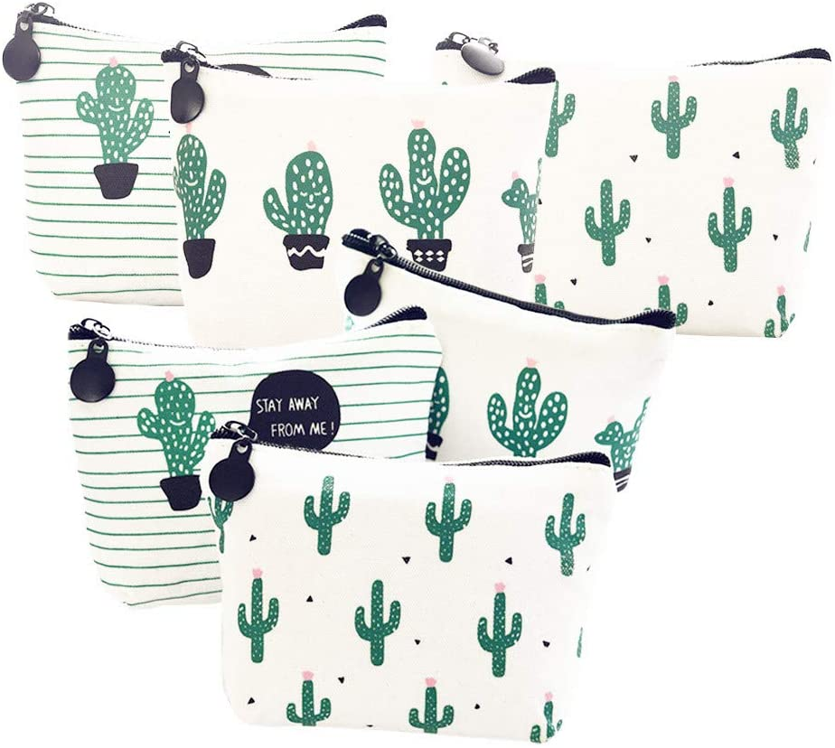 Cactus Small Coin Purse for Cosmetic Bag Makeup Lipsticks Pouches Pack of 6 Cacti Gift