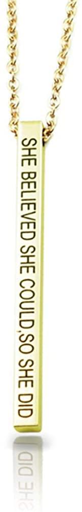 Elefezar Personalized 3D Engraved Bar Name Necklace Custom 4 Sides Name Pendant Necklace