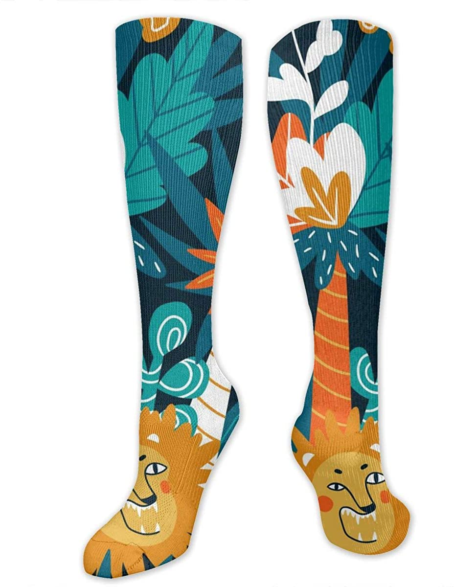 Cute Jungle Lions Athletic Socks Thigh Stockings Over Knee Leg High Socks