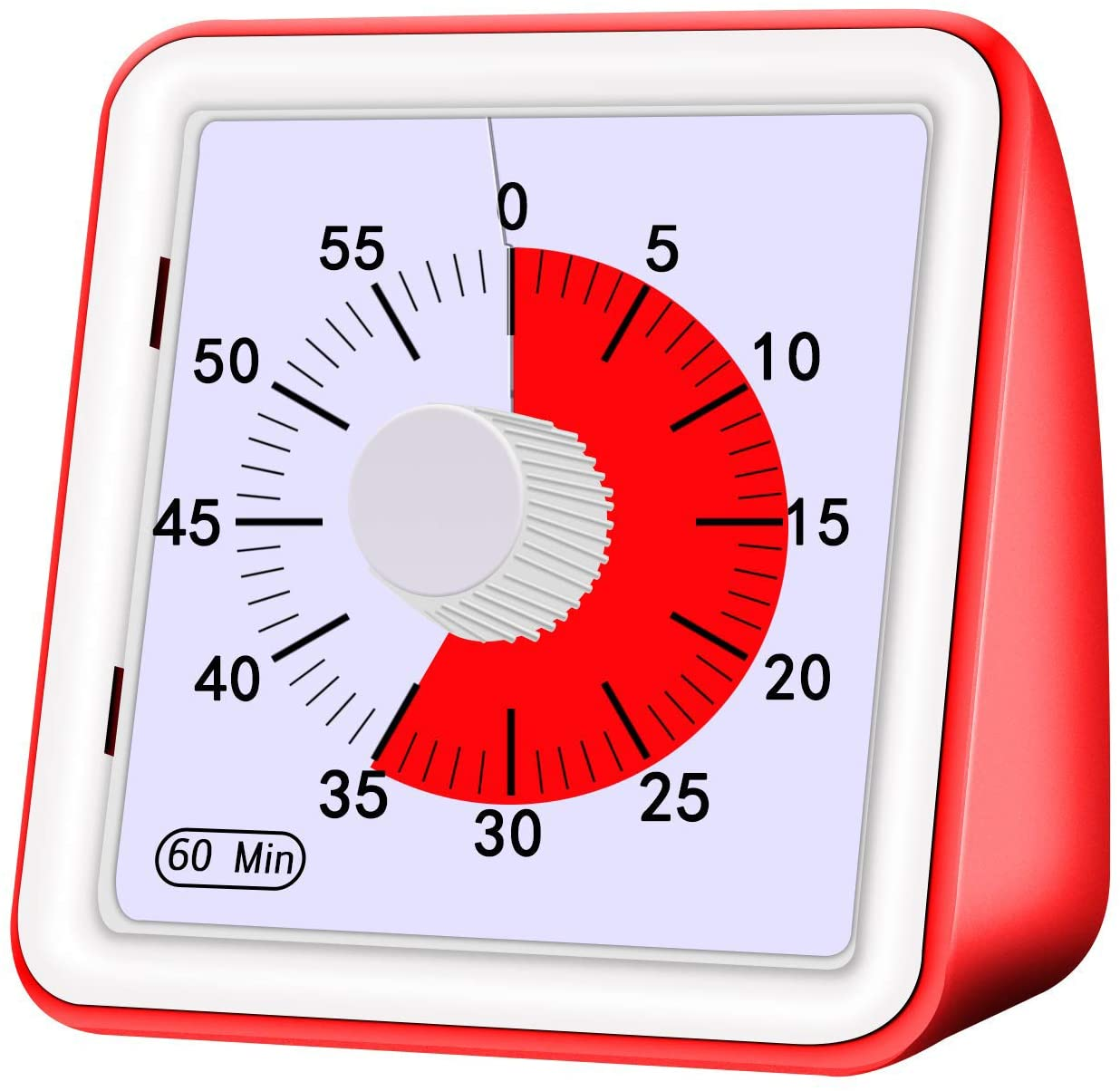 PBQWER 60-Minute Visual Analog Timer Countdown Clock No Loud Ticking Time Management Tool for Kids and Adults Cooking