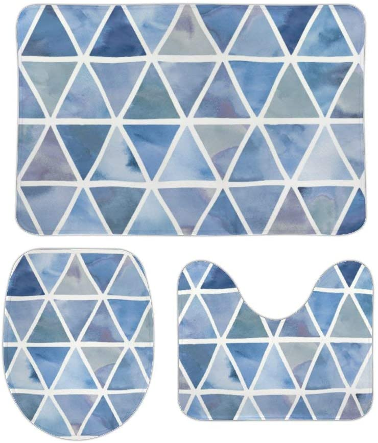 Modern Triangles in Blue and Violet 3 Piece Bathroom Rug Set Bath Mat, U Shaped Contour Mat, Lid Cover Non-Slip with Rubber Backing, Perfect Carpet Mats for Tub, Shower 16 x 24 Inches