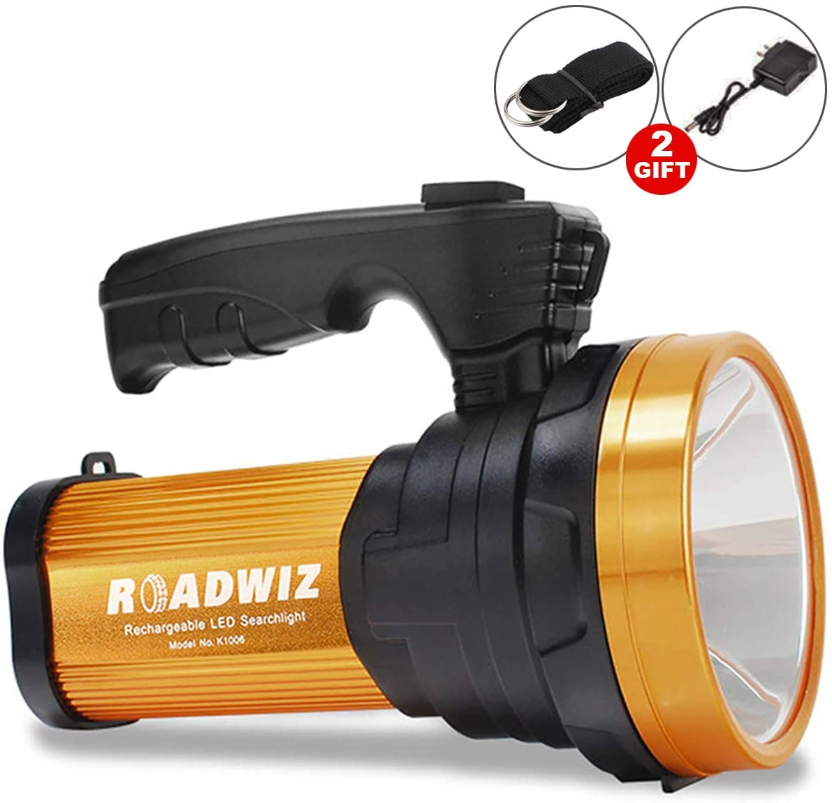 Super Bright LED Flashlight Rechargeable Searchlight Handheld Tactical Spotlight Floodlight Portable High Power 6000 Lumens Large Battery Long Lasting, with USB Output as a Power Bank Working Torch
