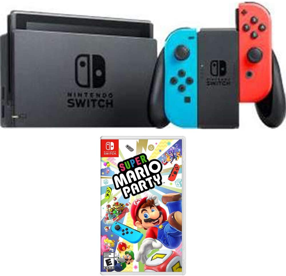 Nintendo Switch 32 GB Console with Neon Blue and Red Joy-Con (HACSKABAA) Super Mario Party for Switch