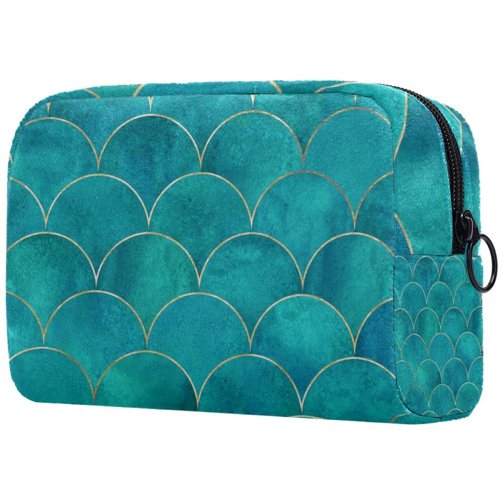 Cosmetic Bag Mermaid Fish Scale Japanese Wave Adorable Roomy Makeup Bags Travel Toiletry Bag Accessories Organizer