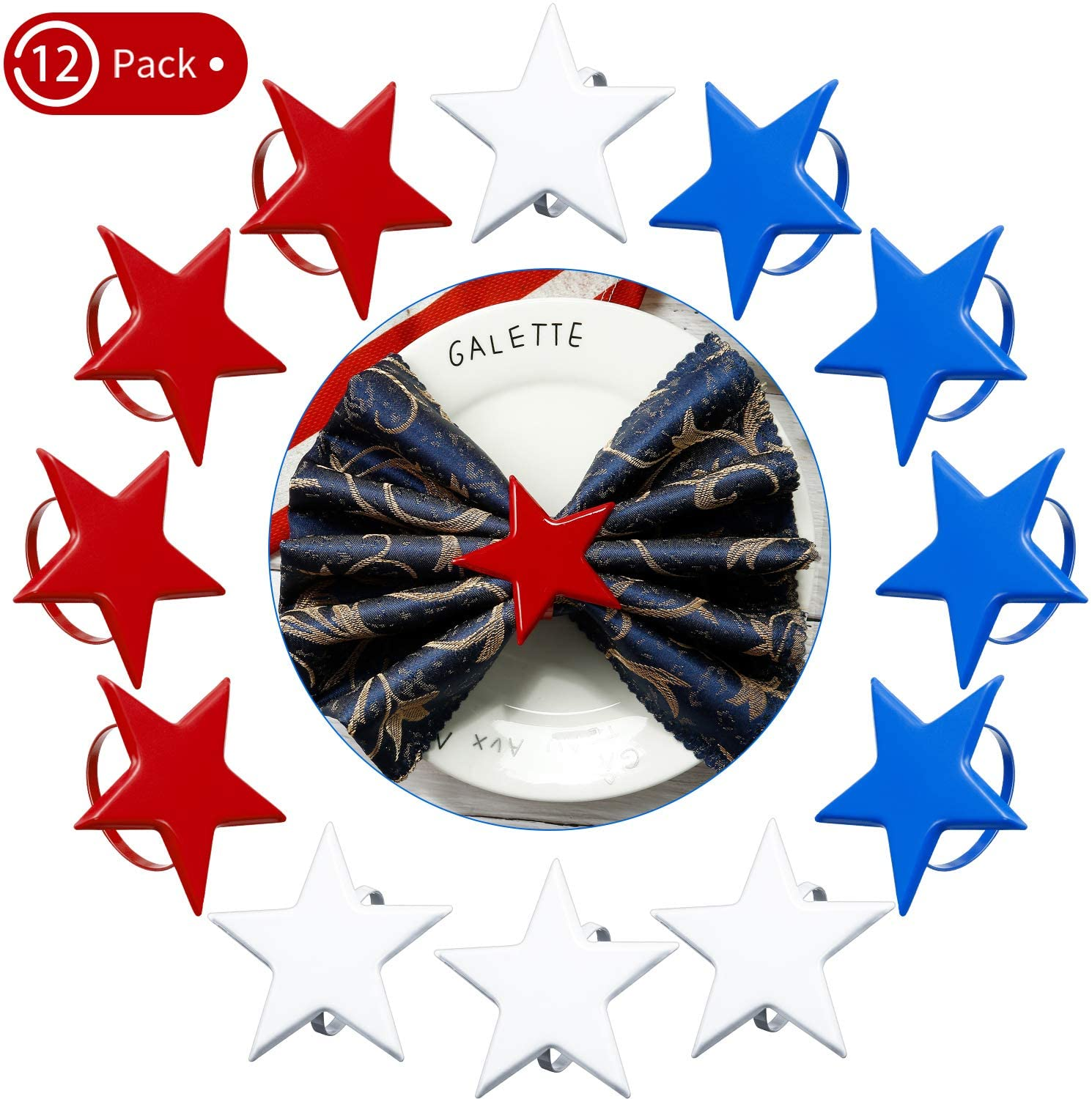 12 Pieces Napkin Rings Star Metal Napkin Ring Holder American Flag Napkin Rings Set Party Decoration for Thanksgiving Day, Weddings, Dinning Table, Everyday, Family Gatherings (Red, White, Blue)