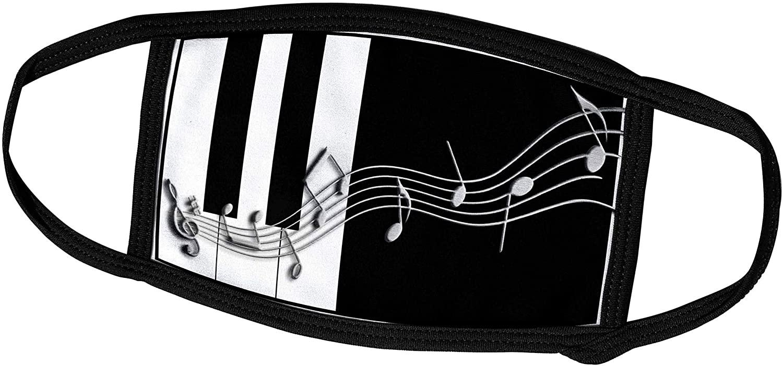 3dRose Beverly Turner Design - Silver Music Notes on Piano Keys - Face Masks (fm_24372_1)