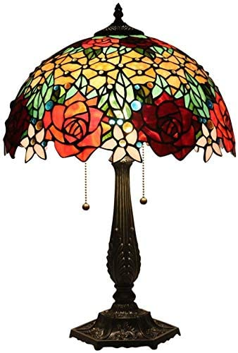 DIMPLEYA Tiffany Style Table Lamp Vintage Luxury Stained Glass Shade Reading Desk Lamps,e27-2 Lights,Living Room Bedroom Bar Cafe Decoration Bedside Lamps Rose Pull Pull