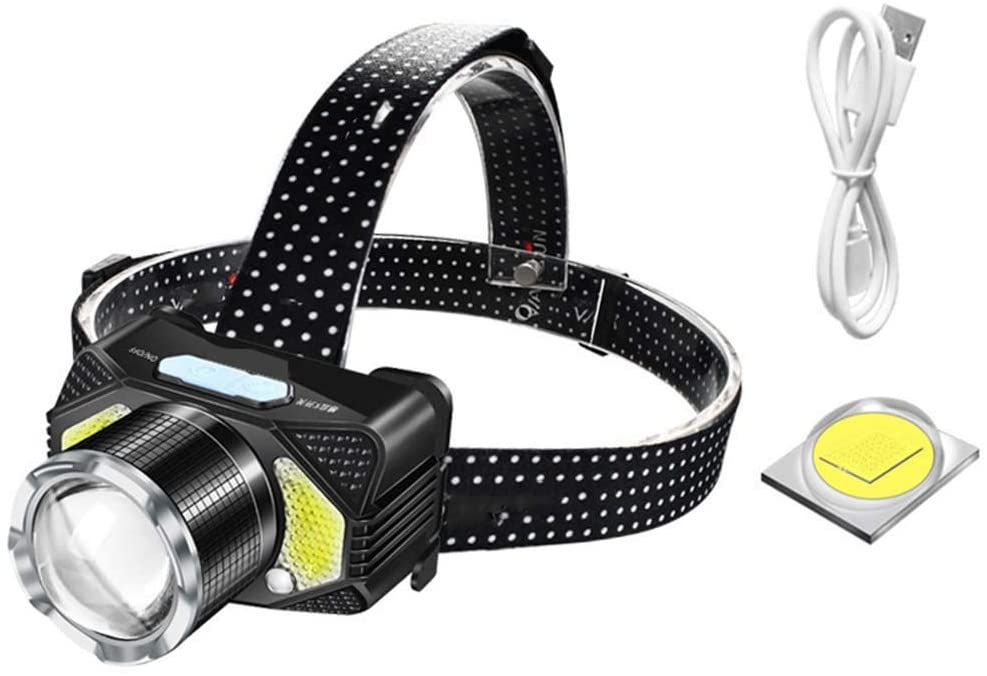 AJDGL USB Rechargeable Headlamp - Motion Sensor Zoomable Waterproof LED Work Light for Outdoor Camping Hunting