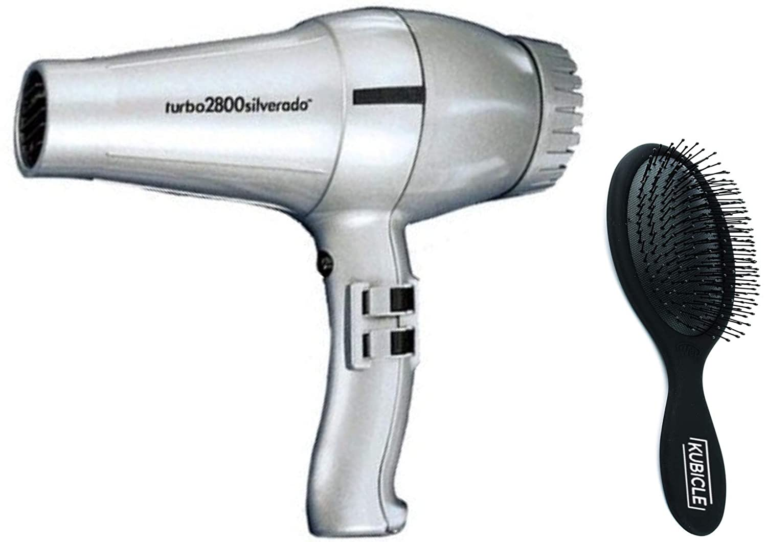 Turbo Italian Hair Blow Dryer with Extra Quiet Operation with Multiple Heat/Speeds and Kubicle Hair Brush Bundle (Silver)