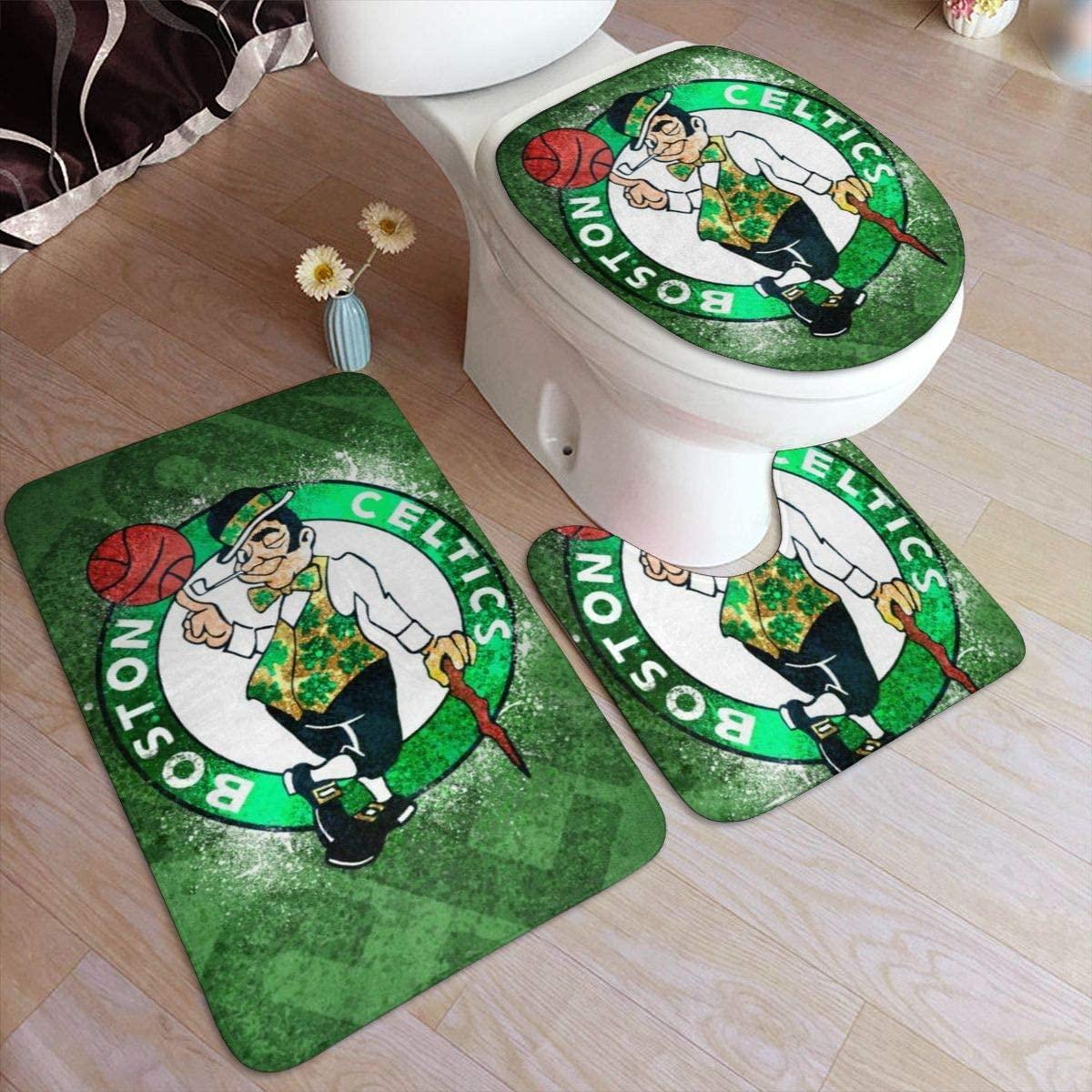 Kanteband Non Slip Bathroom Rug Set Boston 3 Piece Bath Doormat Celtics Anti-Skid Pads Bath Mat + U Shaped Contour Rug + Toilet Lid Cover