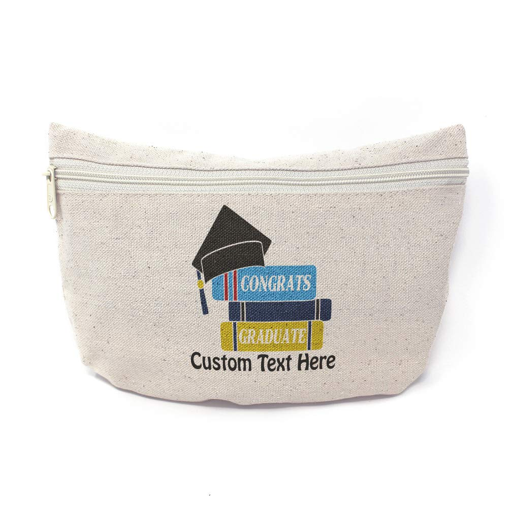 Custom Canvas Makeup Bag Congrats Graduate Holidays and Occasions Graduation School Supplies Pencil Tote Pouch 9x6 Inches Natural Personalized Text Here