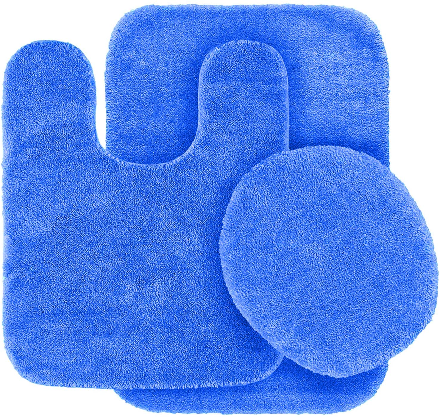 3pc Solid Non Slip Soft Bath Rug Set for Bathroom U-Shaped Contour Rug, Mat and Toilet Lid Cover New Angela (Royal Blue)
