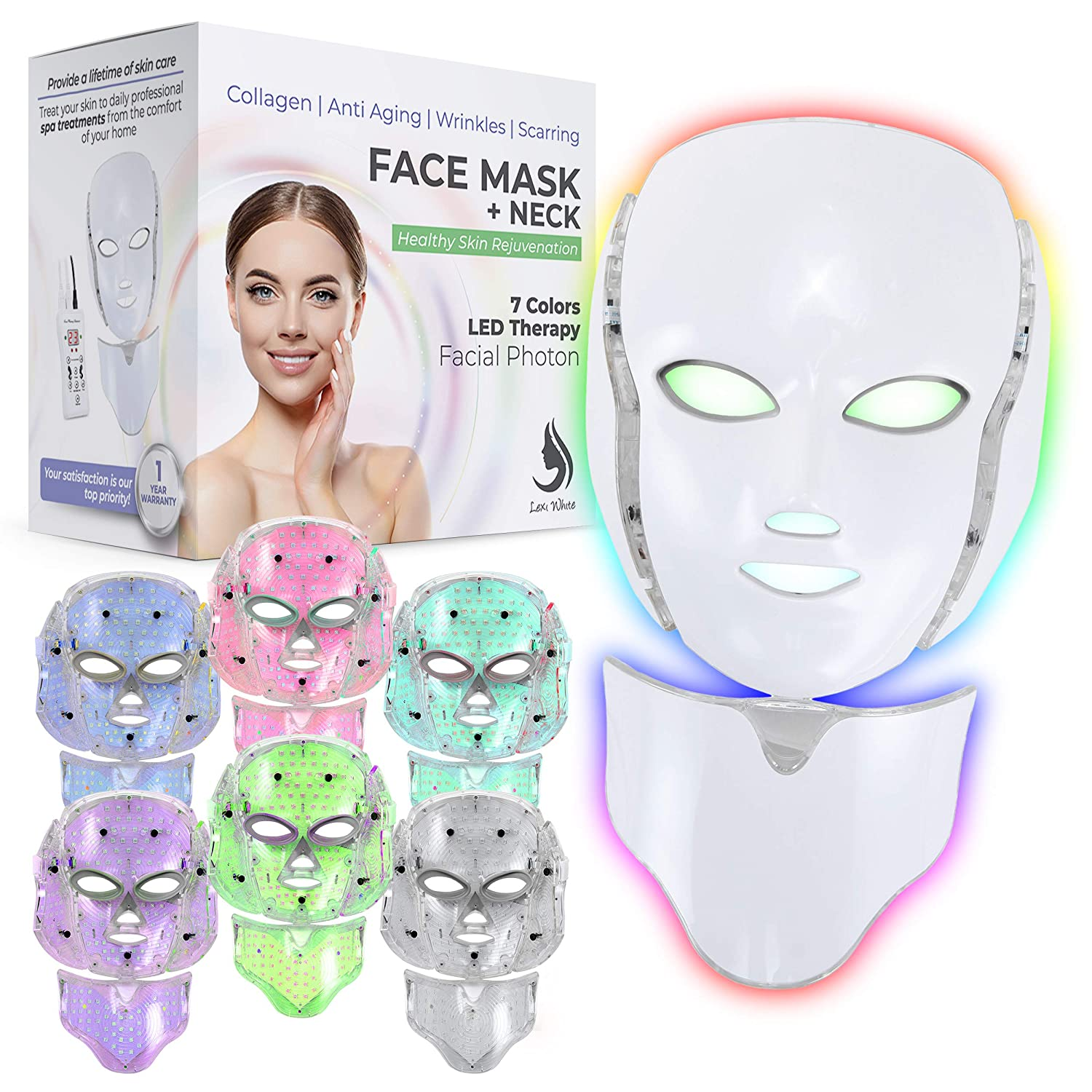 Red Light Therapy LED Face Mask Neck 7 Color   LED Mask Therapy Facial Photon For Healthy Skin Rejuvenation   Collagen, Anti Aging, Wrinkles, Scarring   Korean Skin Care, Facial Skin Care Mask (Off-white)