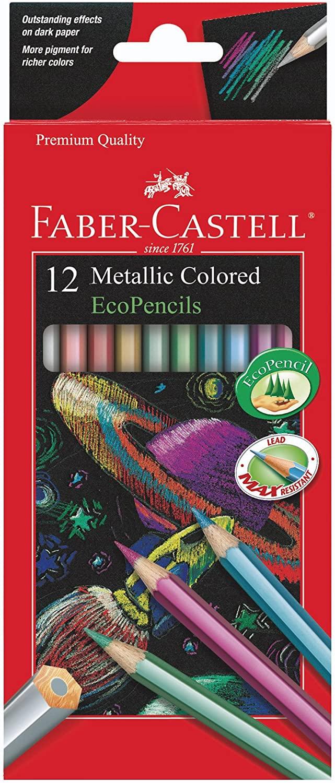 Faber-Castell Metallic Colored Ecopencils - 12 Break Resistant Coloring Pencils