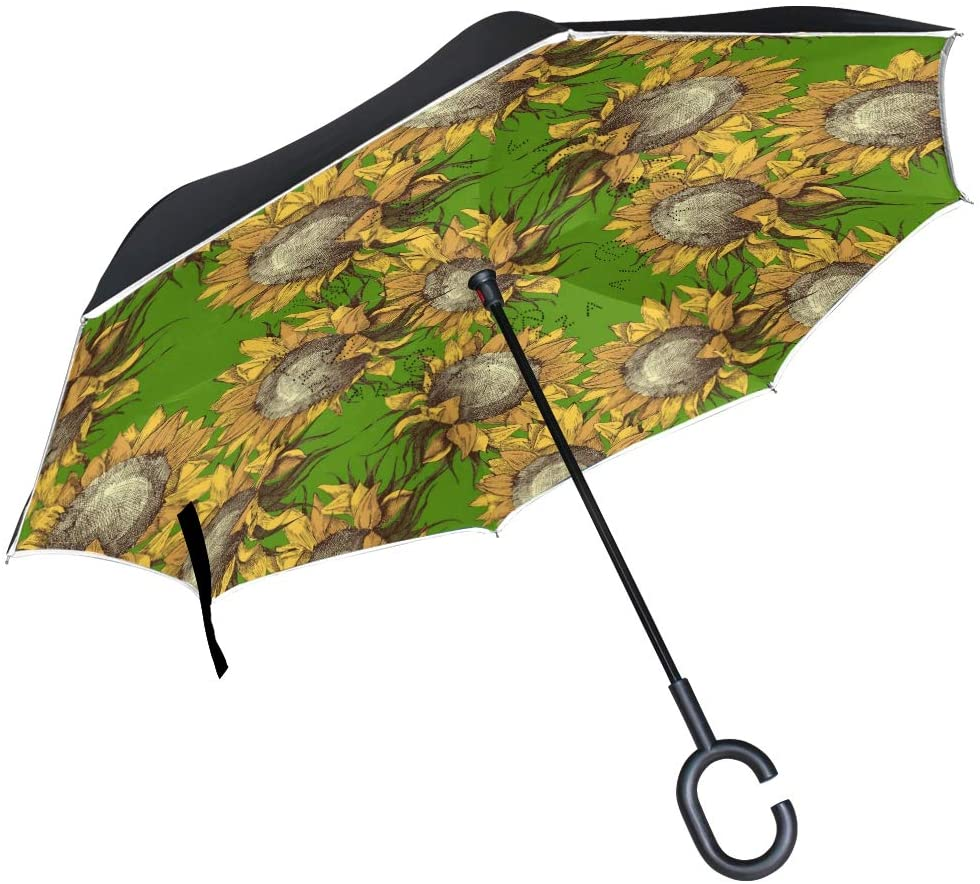 WIHVE Inverted Umbrella Vintage Watercolor Sunflowers Large Double Layer Reversible Umbrella for Car Rain Outdoor