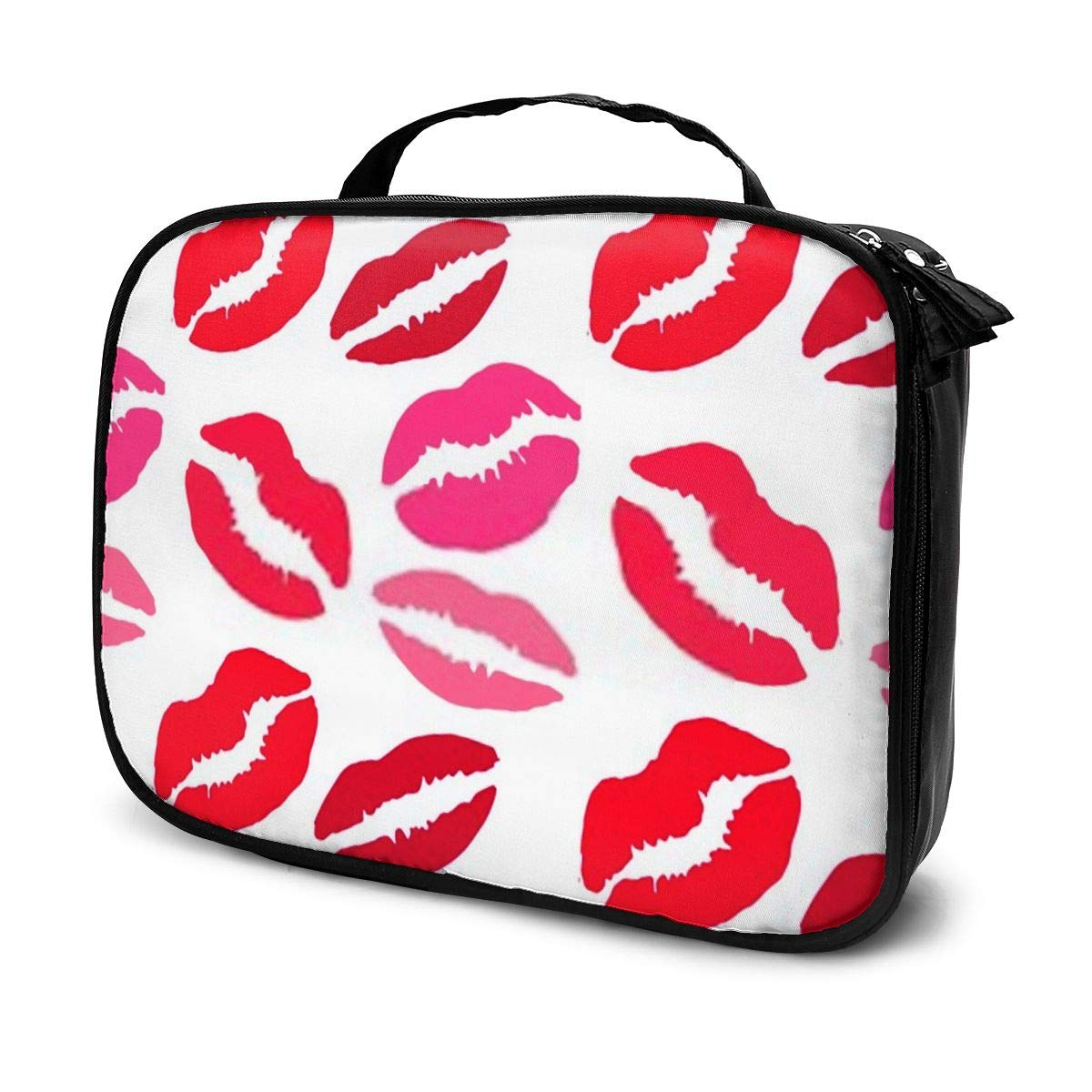 Seamless Pattern With Lips Print Cosmetic Case with Brush Organizer