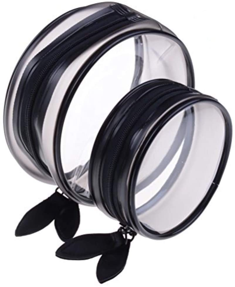 2 Pcs Makeup Bag Clear PVC Cosmetic Bag Round Travel Bag Toiletry Carry Wash Pouch Organizer Set (2 Size)