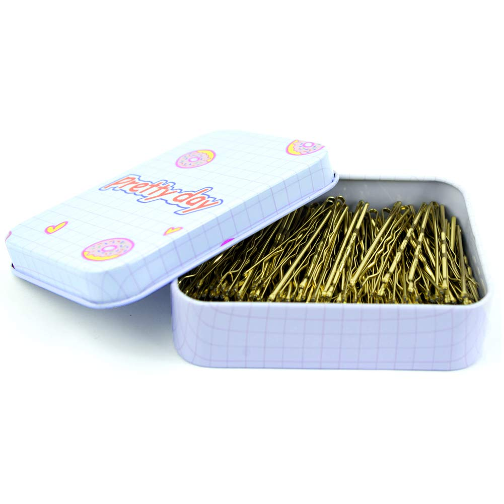 200 CT Hair Bobby Pins Blonde with Cute Case, Bobby Pins for Buns, Premium Hair Pins for Kids, Girls and Women, Great for All Hair Types, 2 Inches