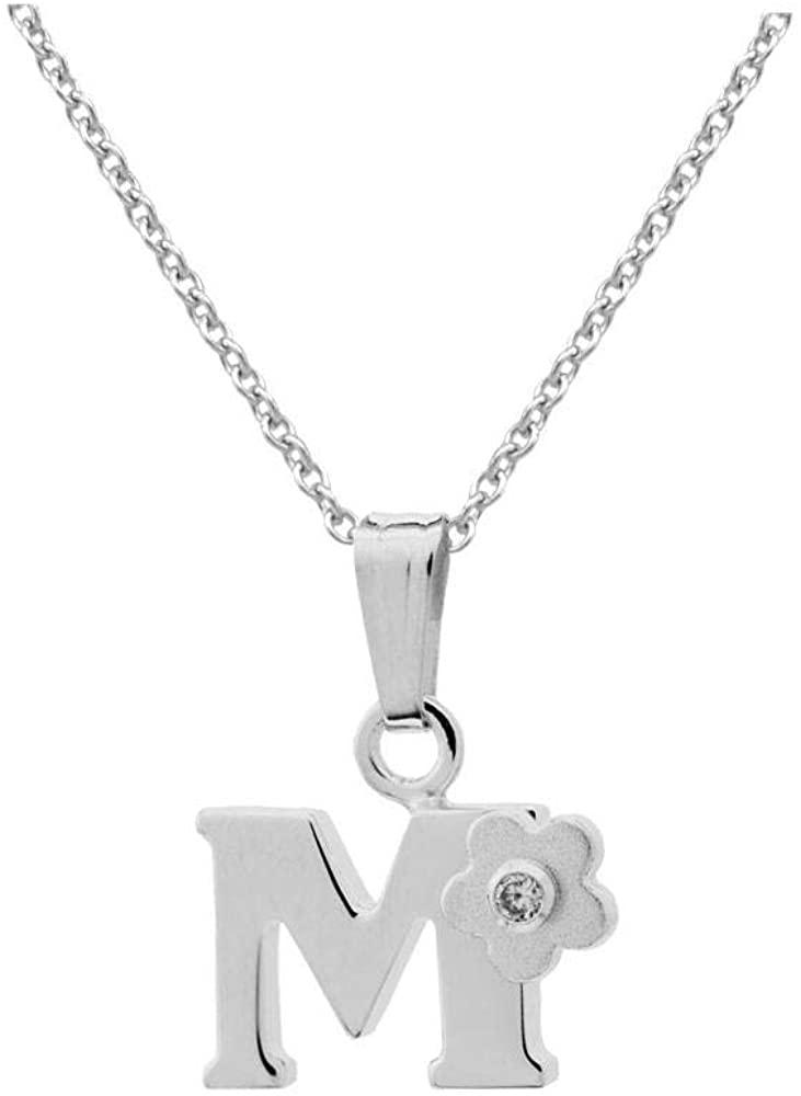 Girls Jewelry - 24 Letters Sterling Silver Diamond Flower Pendant Necklace (14-16 In)