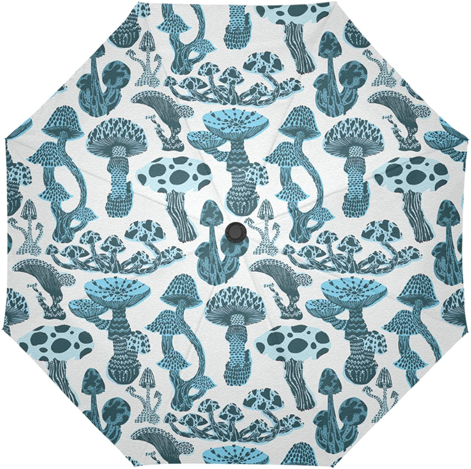 Artsbaba Compact Umbrella Mushroom Flodable Travel Umbrella Auto Open Close Rain Windproof