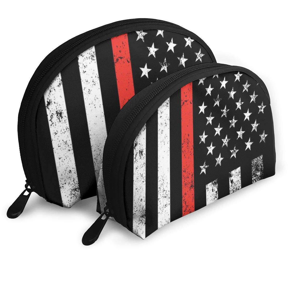 Half Moon Cosmetic Beauty Bag,Firefighter Thin Red Line American Flag Handy Cosmetic Pouch Clutch Makeup Bag For Women Girls