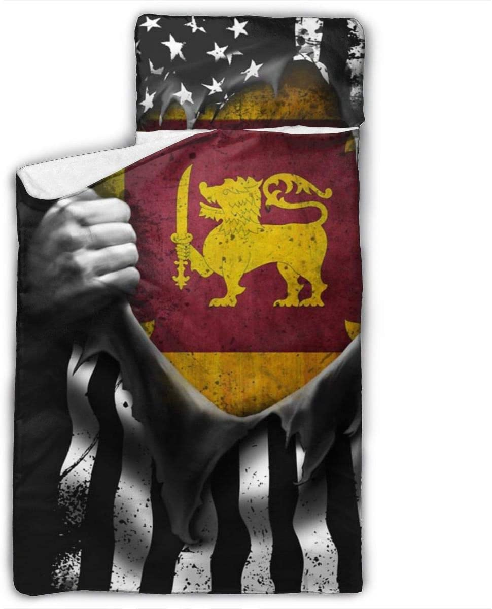 Yuyuy Toddler Nap Mat Sri Lankan American Flag Children Sleeping Bag with Pillow for Preschool, Daycare 50 X 20 Inches