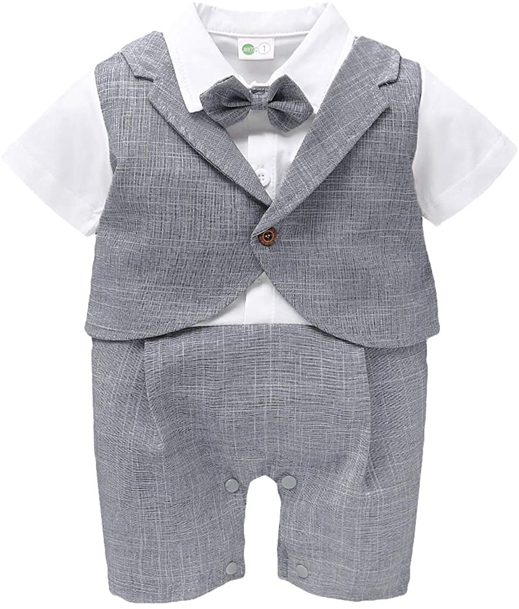 KNEYATTA Newborns Baby Boys Tuxedo Suits Formal Jumpsuit Gentleman Outfit One-Piece Romper Wedding Outfi